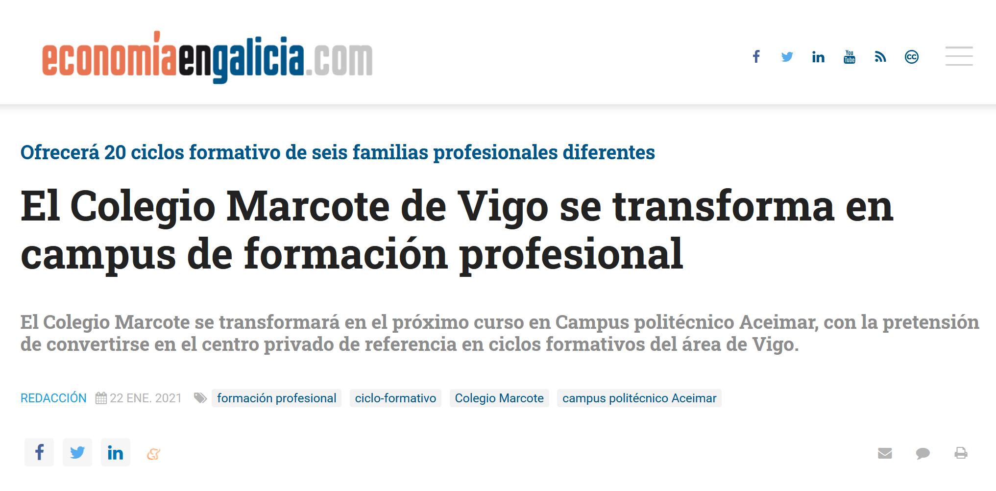Economia en Galicia publica sobre el campus aceimar